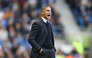 Brighton Manager, Chris Hughton shouting during the Sky Bet Championship match between Brighton and Hove Albion and Middlesbrough at the American Express Community Stadium, Brighton and Hove, England on 19 December 2015.