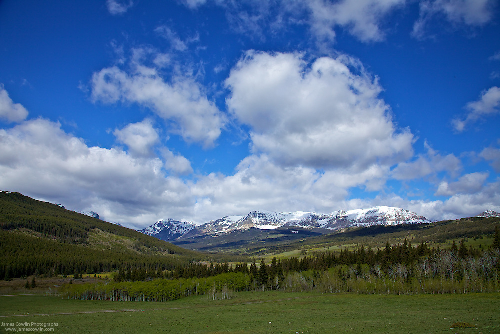 Clouds over Rocky Mountains in Glacier National Park, Montana, along US Route 89