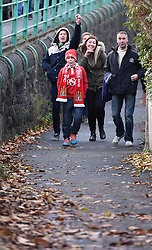 Supporters on their way to Ashton Gate for FA Cup second round tie between Bristol City and AFC Telford - Photo mandatory by-line: Paul Knight/JMP - Mobile: 07966 386802 - 07/12/2014 - SPORT - Football - Bristol - Ashton Gate - Bristol City v AFC Telford - FA Cup Second Round