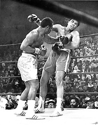 June 3, 2016 - File - MUHAMMAD ALI, the three time heavyweight boxing champion, has died at the age of 74. He had been fighting a respiratory illness. 'The Greatest' was the dominant heavyweight boxer of the 1960s and 1970s, Ali won an Olympic gold medal in Rome in 1960, captured the professional world heavyweight championship on three separate occasions, and successfully defended his title 19 times. PICTURED: Nov. 5, 2011 - New York, NY, USA - In this 1971 file photo, JOE FRAZIER dazed MUHAMMAD ALI during their heavyweight championship in New York City.  (Credit Image: © Philadelphia Inquirer/TNS/ZUMAPRESS.com)