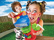 Kids can make their own shlushies!  Photo Composite for Spin Master Package Illustration.