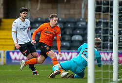 Dundee United's Peter Pawlett and Partick Thistle's keeper Scott Fox. half time : Dundee United 1 v 0 Partick Thistle, Scottish Championship game played 7/3/2020 at Dundee United's stadium Tannadice Park.