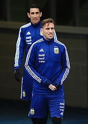 Argentina's Lucas Biglia and Angel di Maria - Mandatory by-line: Matt McNulty/JMP - 21/03/2018 - FOOTBALL - Argentina - Training session ahead of international against Italy