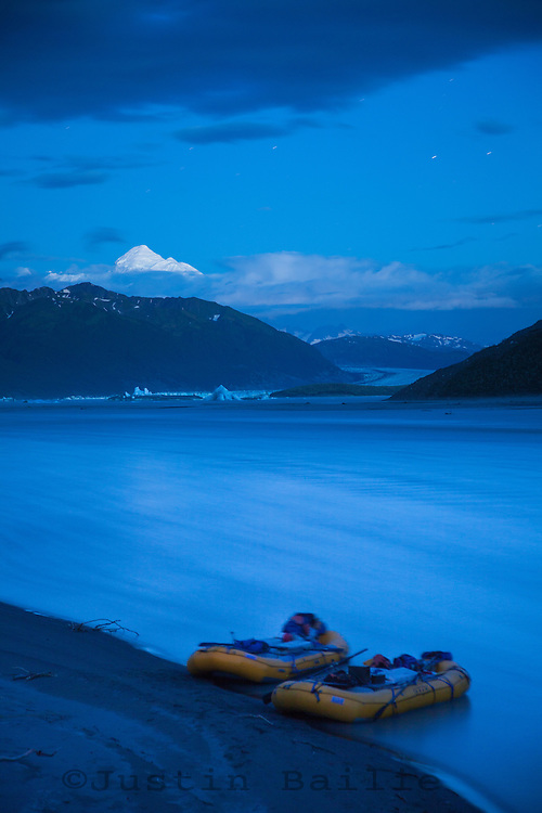"""Rafting camp on Alsek Lake while on a  raft trip down the Tashenshini River. The """"Tat"""" flows out of Yukon, CA, through British Columbia and empties into Glacier Bay National Park in Alaska, US."""