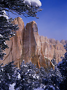 Winter view of Inscription Rock, El Morro National Monument, New Mexico.