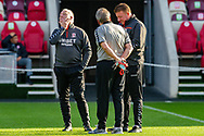 Middlesbrough assistant manager Kevin Blackwell, Middlesbrough manager Neil Warnock, Middlesbrough first team coach Ronnie Jepson, pitch inspection before the EFL Sky Bet Championship match between Brentford and Middlesbrough at Brentford Community Stadium, Brentford, England on 7 November 2020.