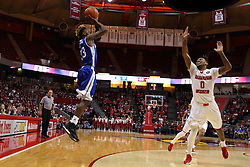 26 January 2016: Nick Banyard(0) is too far away to stop a 3 point shot by Ore Arogundade(23) during the Illinois State Redbirds v Drake Bulldogs at Redbird Arena in Normal Illinois (Photo by Alan Look)