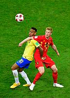 Kazan, Russia - July 6 : Neymar forward of Brazil, Kevin De Bruyne forward of Belgium during the FIFA 2018 World Cup Russia Quarter-final match between Brazil and Belgium at the Kazan Arena Stadium on July 6, 2018 in Kazan, Russia, 6/07/2018 <br /> Brasil - Belgia