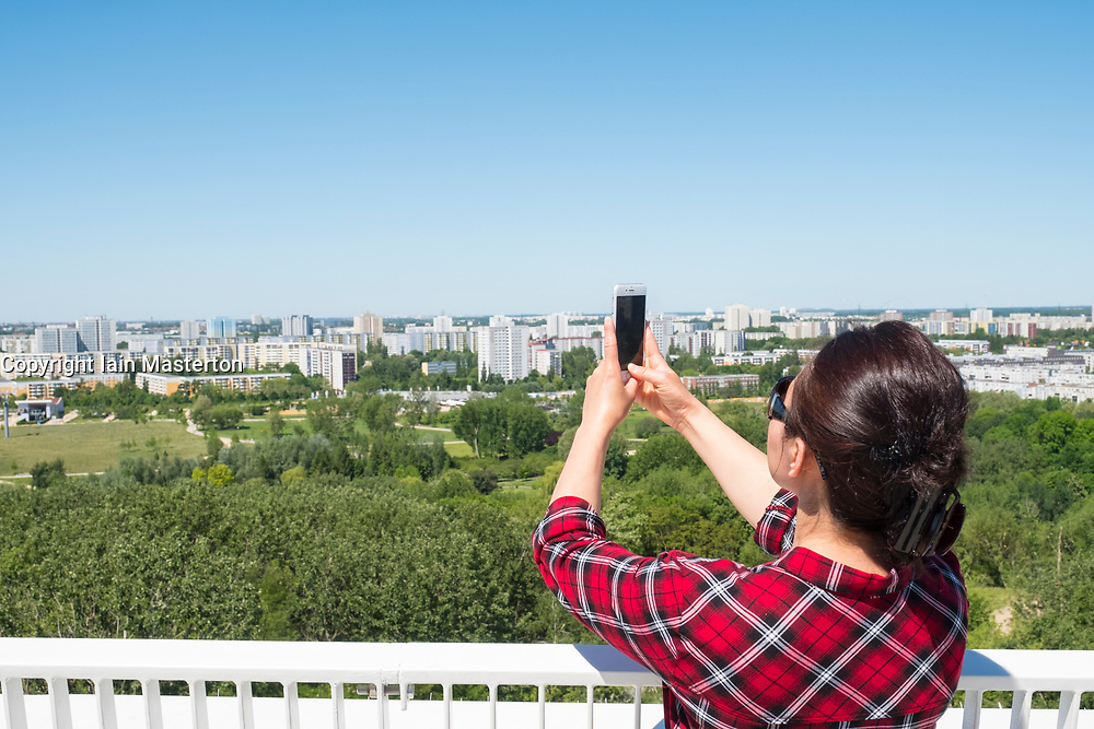 Visitor on viewing platform at IFA 2017 International Garden Festival (International Garten Ausstellung) in Berlin, Germany
