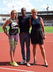 """06-07-2015 NED: Presentatie EK Atletiek """"One year to go"""", Amsterdam<br /> Kick off  EK Atletiek 2016 in het Olympische stadion Amsterdam. Over 1 jaar zal het EK Atletiek plaats vinden / Gregory Sedoc, Susan Kuijken en Ellen van Langen"""