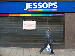 Closed Jessops shop with 'To Let' sign, Commercial Street, Sheffield
