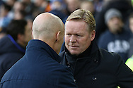 Everton Manager Ronald Koeman (r) and Swansea City Manager Bob Bradley shake hands prior to kick off. Premier league match, Everton v Swansea city at Goodison Park in Liverpool, Merseyside on Saturday 19th November 2016.<br /> pic by Chris Stading, Andrew Orchard sports photography.