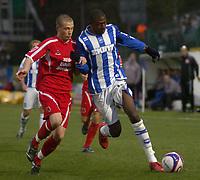 Photo: Matt Bright/Sportsbeat Images.<br /> Brighton & Hove Albion v Carlisle United. Coca Cola League  1. 24/11/2007.<br /> Joe Garner of Carlisle & Bas Savage of Brighton
