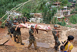 QUANZHOU, Sept. 16, 2016 (Xinhua) -- Rescuers relocate an injured man in Nan'an, southeast China's Fujian Province, Sept. 16, 2016. Disaster relief and reconstruction were launched after Typhoon Meranti swept away and left severe damages. (Xinhua/Jiang Kehong) (cxy) (Credit Image: © Jiang Kehong/Xinhua via ZUMA Wire)