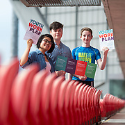 31.05.2018.          <br /> Limerick and Clare Education Training Board launch Youth Work Plan 2018-2021 at Thomond Park Limerick with Pat Breen TD, Minister of State with special responsibility for Trade, Employment, Business, EU Digital Single Market and Data Protection, Clare. <br /> <br /> Pictured at the event were, Isha Lazo, Tadhg Hession and Shane Brown, Comhairle na nOg. Picture: Alan Place