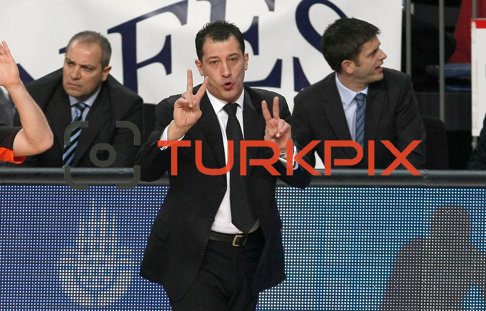 Anadolu Efes's coach Ufuk Sarica during their Turkish Airlines Euroleague Basketball Top 16 Game 1 match Anadolu Efes between Galatasaray at Sinan Erdem Arena in Istanbul, Turkey, Thursday, January 19, 2012. Photo by TURKPIX
