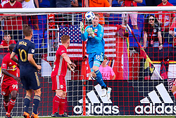 May 26, 2018 - Harrison, NJ, U.S. - HARRISON, NJ - MAY 26: New York Red Bulls goalkeeper Ryan Meara (18) controls the ball during the first half of the Major League Soccer Game between the New York Red Bulls and the Philadelphia Union on May 26, 2018, at Red Bull Arena in Harrison, NJ.  (Photo by Rich Graessle/Icon Sportswire) (Credit Image: © Rich Graessle/Icon SMI via ZUMA Press)