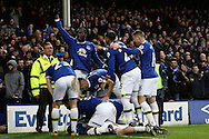 Tom Davies of Everton (on ground) celebrates with his teammates after scoring his teams 3rd goal. Premier league match, Everton v Manchester City at Goodison Park in Liverpool, Merseyside on Sunday 15th January 2017.<br /> pic by Chris Stading, Andrew Orchard sports photography.