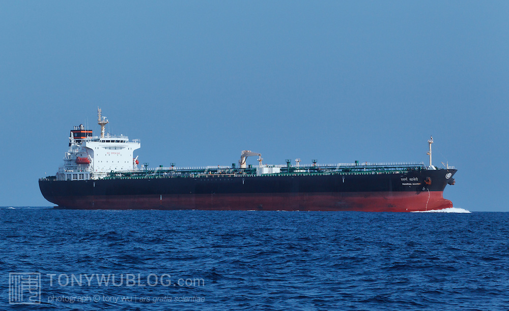 Large vessels like this one travel on a constant basis in the shipping lanes just south of Sri Lanka. The shipping lanes pass through the middle of feeding grounds for blue whales and other cetaceans. The risk of ship strikes in this region is high.