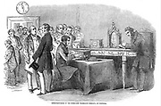 Opening of the London to Paris telegraph link. Instrument room at the Submarine Telegraph Company, Cornhill, London, showing the Wheatstone needle telegraph instruments.  From The Illustrated London News, 13 November 1852