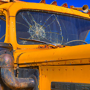 White Diesel Cab Cracked Windshield Close - Motor Transport Museum - Campo, CA