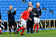 Tommy Charlton of England over 60's comes on to the pitch as he makes his England debut during the world's first Walking Football International match between England and Italy at the American Express Community Stadium, Brighton and Hove, England on 13 May 2018. Picture by Graham Hunt.