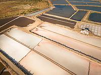Aerial view of salt marsh in Portugal.