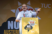 Len McClusky, general secretary of Unite the union speaking at the No to Austerity TUC demo outside the Conservative party conference, Manchester. 4th October 2015