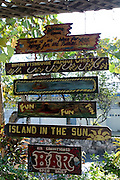 Handpainted bar sign at the Compleat Angler Bar, once a haunt of Ernst Hemmingway along the King's Highway in Alice Town on the tiny Caribbean island of Bimini, Bahamas