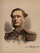 Francis Leopold McClintock (1819-1907) Anglo-Irish naval officer and explorer who made discoveries in the Canadian arctic islands.  He joined in searches for John Franklin's arctic expeditions.  In 1884 he retired from the Royal Navy with the rank of Admiral. From 'The Modern Portrait Gallery' (London, c1880). Tinted lithograph.