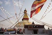 Crowds of worshipers gather for Buddha Jayanti (Buddha's birthday) at Boudhanath Stupa, Kathmandu, Nepal on May 9, 2009.