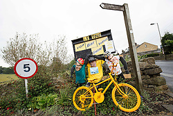 Models of British riders Mark Cavendish, Sir Bradley Wiggins (not in this Tour) and Chris Froome are seen outside Skipton along the Stage 1 route - Photo mandatory by-line: Rogan Thomson/JMP - 07966 386802 - 04/07/2014 - SPORT - CYCLING - Yorkshire - Le Tour de France Grand Depart Previews.