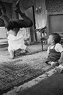 """Harry Belafonte having fun with his son David at Hôtel Raphael in Paris.<br /> This picture appeared full page in the french paper, """" Paris Jours"""".<br /> <br /> <br /> Harry Belafonte jouant avec son fils David dans sa suite a  Hôtel Raphael à Paris .<br /> Cette image as ete publie en pleine page dans le journal français , """"Paris Jours """" ."""