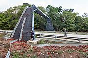 Red crabs crossing man-made bridge on Christmas Island. Photo credit: Parks Australia