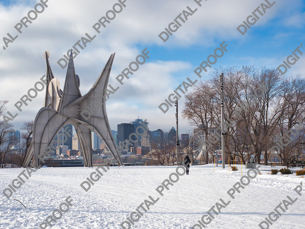 January 09, 2021 - Montreal, Canada Alexander Calder Trois Disques from Montreal public's Art collection in Park Jean-Drapeau during a winter