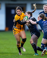 Amy Wilson Hardy of Wasps Ladies is tackled by Lisa Neumann of Sale Sharks Women  - Mandatory by-line: Nick Browning/JMP - 12/12/2020 - RUGBY - CorpAcq Stadium  - Sale, England - Sale Sharks Women v Wasps FC Ladies - Allianz Premier 15s