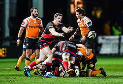 Dragons' Hallam Amos in action during todays match<br /> <br /> Photographer Craig Thomas/Replay Images<br /> <br /> Guinness PRO14 Round 18 - Dragons v Cheetahs - Friday 23rd March 2018 - Rodney Parade - Newport<br /> <br /> World Copyright © Replay Images . All rights reserved. info@replayimages.co.uk - http://replayimages.co.uk