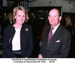 VISCOUNT & VISCOUNTESS PORTMAN at a party in London on December 4th 1996.LUF 57