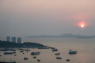 pattaya, phayttaya, thailand, chonburi, sunset, boats, buildings