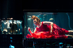 Creator and singer Laila Skovnand performs with musicians in water filled glass tanks as part of the Sonica 2017 Festival to be held in Glasgow from 26th October to 5th November this year.<br /> <br /> © Dave Johnston/ EEm