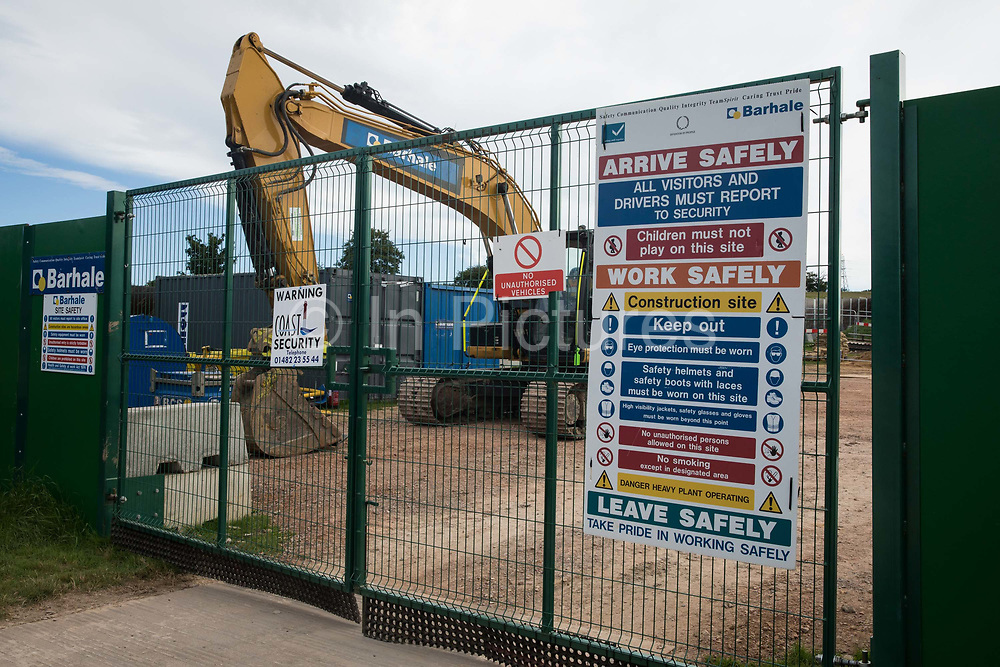 Heavy equipment in a compound alongside a new Affinity Water pipeline and temporary haul road which are being constructed in conjunction with the HS2 high-speed rail link on 18th July 2020 in Chalfont St Giles, United Kingdom. The Department for Transport approved the issuing of Notices to Proceed by HS2 Ltd to the four Main Works Civils Contractors MWCC working on the £106bn rail project in April 2020.