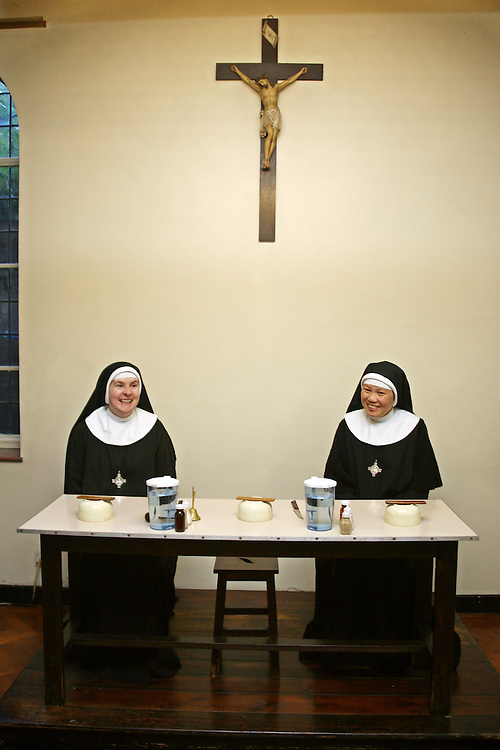 Sisters eat their lunch at Tyburn Convent on Bayswater Road, London.