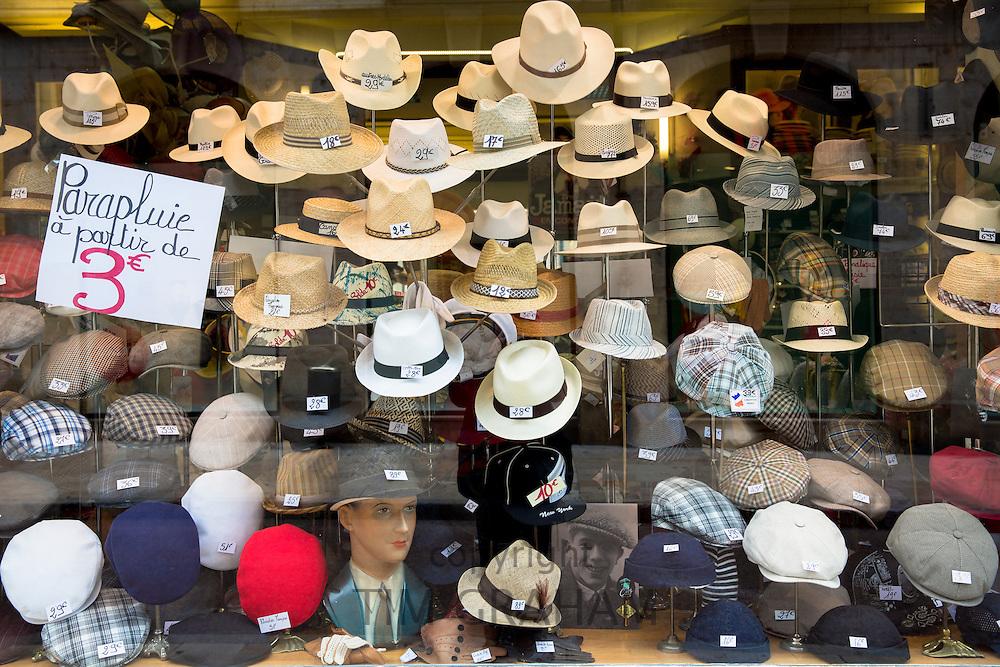 Window display of hat shop, Chapellerie Bruyas, in Rue des Godrans  in Dijon in the Burgundy region of France