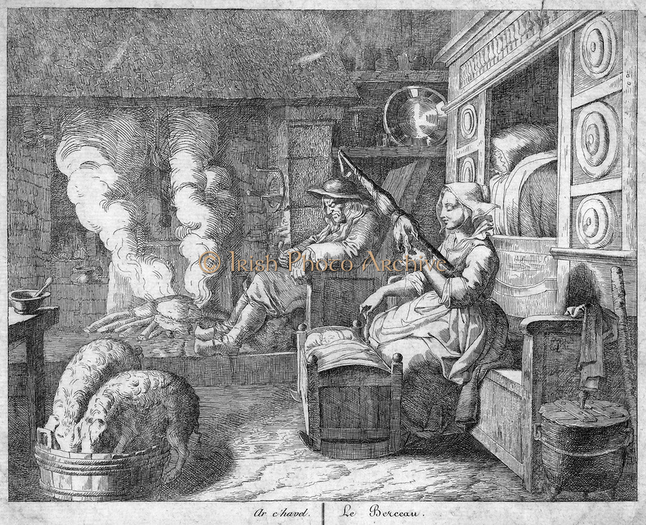 Peasant cottage interior, 17th century.  Husband, wearing wooden clogs, snoozes in chimney corner by fire on which cooking would be done. Young mother sits on wooden bench spinning with a distaff while she rocks the cradle.  Behind her is a cupboard bed.  Engraving.