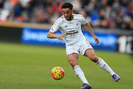 Neil Taylor of Swansea city in action. Barclays Premier league match, Swansea city v Norwich city at the Liberty Stadium in Swansea, South Wales  on Saturday 5th March 2016.<br /> pic by  Andrew Orchard, Andrew Orchard sports photography.