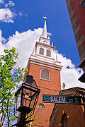 The Old North Church and gas street lamp on the Freedom Trail, Boston, Massachusetts