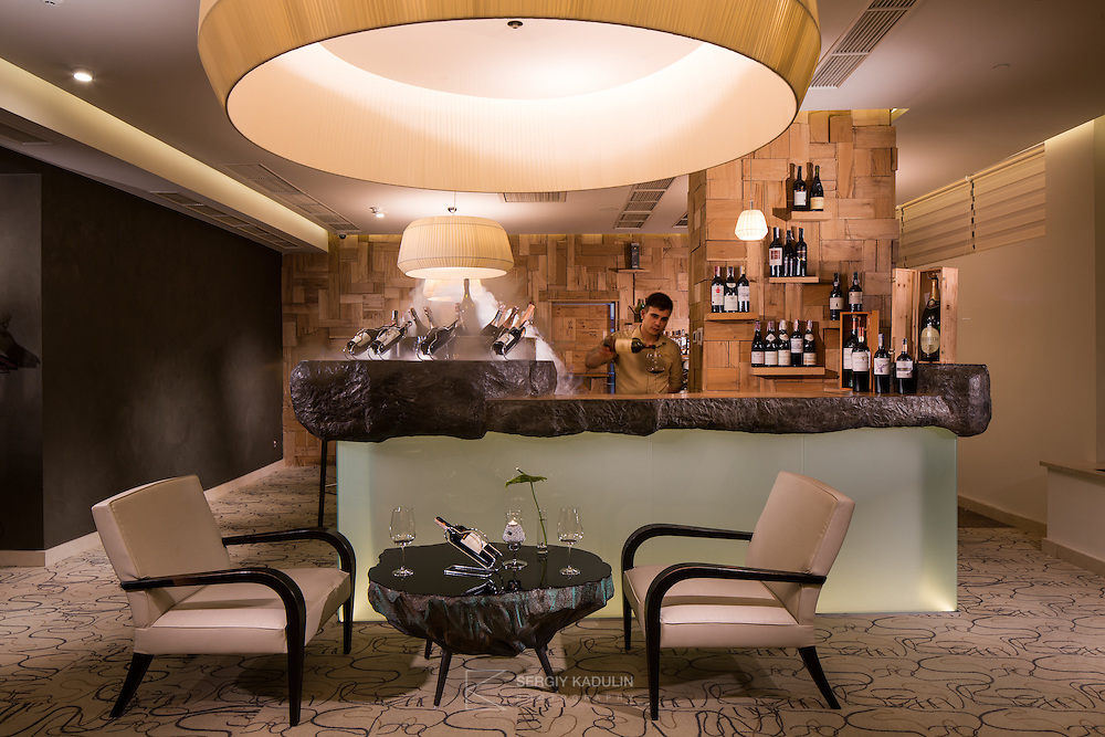 Interior view of Bellini's Piano Bar & Grill in Mirotel Resort & Spa hotel. Mirotel is 5* resort located in the heart of Truskavets, in western Ukraine.