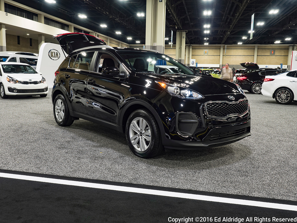 CHARLOTTE, NC, USA - NOVEMBER 17, 2016: Kia Sportage on display during the 2016 Charlotte International Auto Show at the Charlotte Convention Center in downtown Charlotte.