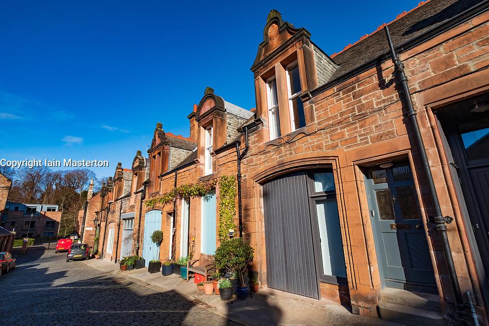 View of Mews houses on narrow street at Bedford Mews in Edinburgh, Scotland, UK