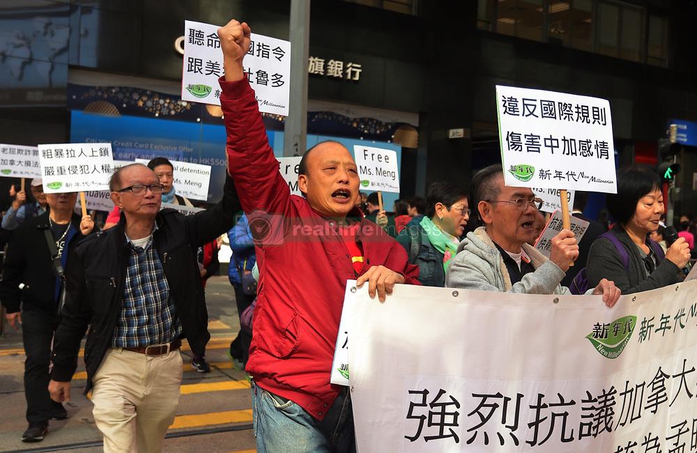 December 18, 2018 - Hong Kong, CHINA - Pro-China demonstrators march to the Canadian Consulate General in Central calling for immediate releasing of Meng Wanzhou.Dec-18,2018 Hong Kong.ZUMA/Liau Chung-ren (Credit Image: © Liau Chung-ren/ZUMA Wire)